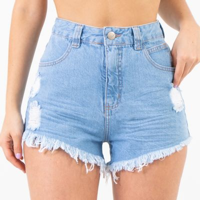 Short-Jeans-Claro-Cintura-Alta-Destroyed-Lady-Rock-Frente