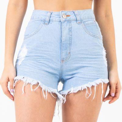 Short-Jeans-Lavagem-Clara-Cintura-Alta-Destroyed-Lady-Rock-Frente
