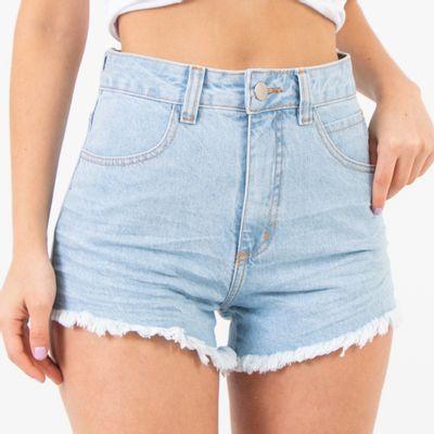 Short-Jeans-Lavagem-Clara-Cintura-Alta-Amassado-Lady-Rock-Frente
