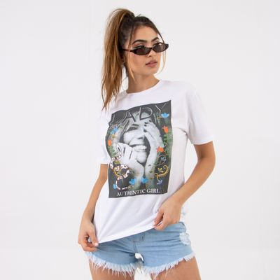 T-Shirt-Branca-Authentic-Girl-Lady-Rock