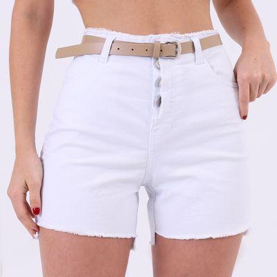 Short-Hot-Pants-Branco-com-Cinto-Lady-Rock-Frente