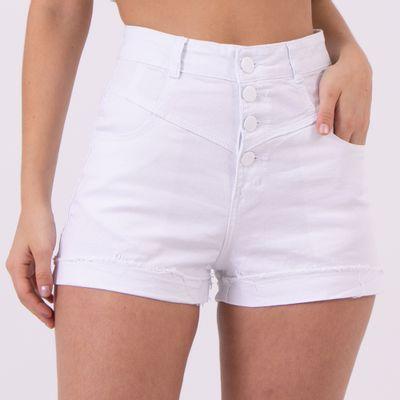 Short-Cintura-Alta-com-Botoes-Frontais-Branco-Lady-Rock-Frente