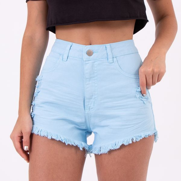 Short-Hot-Pants-Azul-Claro-Destoyed-Lady-Rock-Frente