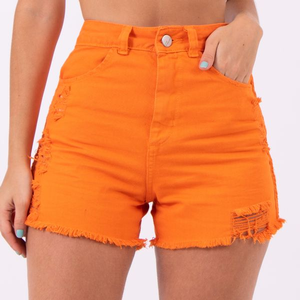 Short-hot-Pants-Laranja-Destroyed-Lady-Rock-Frente