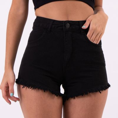 Short-Hot-Pants-Preto-Amassado-Lady-Rock