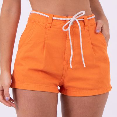 Short-Hot-Pants-Laranja-com-Pences-Frontais-Lady-Rock-Frente