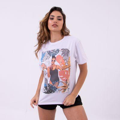 T-Shirt-Tropical-Girls-Ampla-Branca-Lady-Rock-Frente