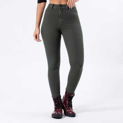 Calca-Color-Hot-Pants-Verde-Militar-Lady-Rock-Frente
