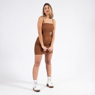 Vestido-Mini-Suede-Tubinho-Marrom-Lady-Rock-Frente