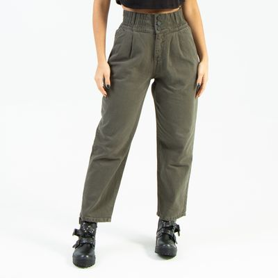 Calca-Slouchy-ON-STAGE-Verde-Militar-Lady-Rock-Frente