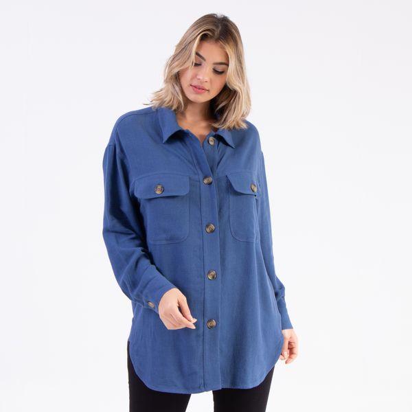 Camisa-Linho-Ampla-Azul-Danubio-Lady-Rock-frente