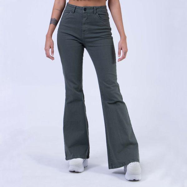 Calca-Hot-Pants-Flare-Verde-Militar-Lady-Rock-Frente