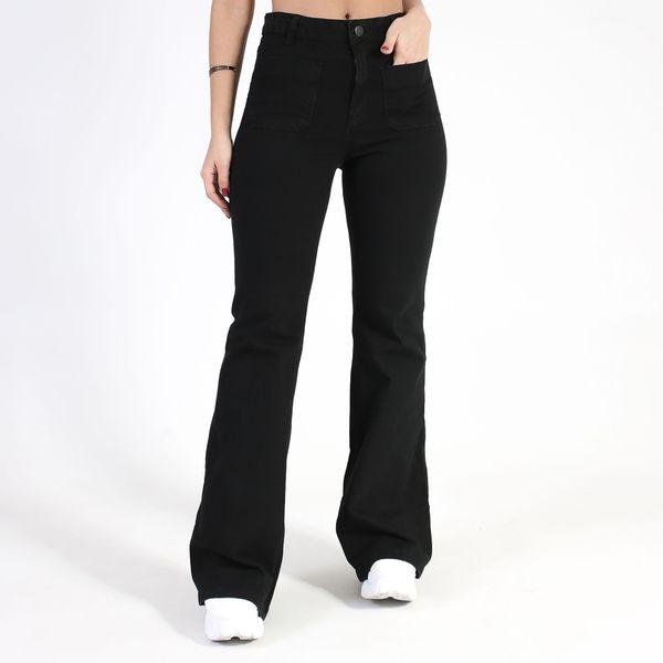 Calca-Hot-Pants-Flare-Preta-Lady-Rock-Frente